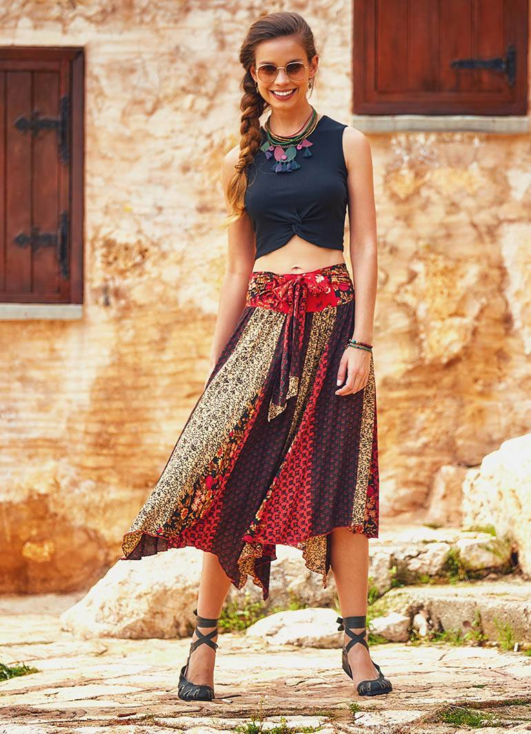 bohochic asymetrical skirt in silk Asymmetrical silk boheme skirt single waist,bohoskirt