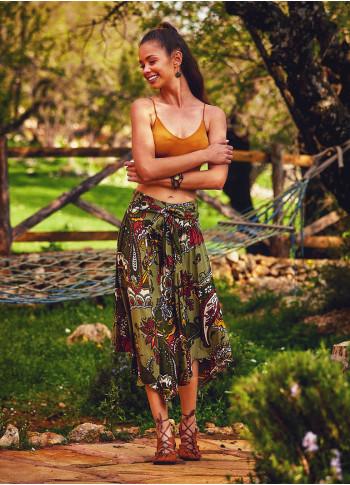 Paisley Print Asymmetrical Hem Elastic Tie Waist Flowy Midi Skirt