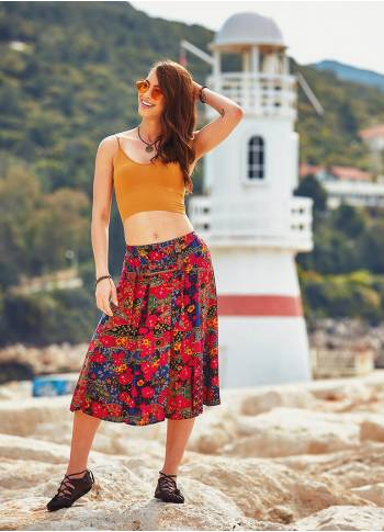 Floral Patterned Elastic Waistband Red Midi Skirt