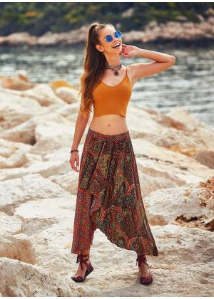 Paisley Print Hem Detail Elastic Waist Gypsy Flowy Midi Skirt