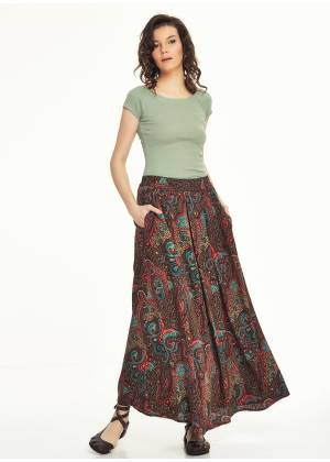 Ethnic Print Pleated Elastic Banded Maxi Brown Skirt