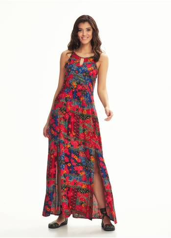 Ethnic Print Back Decollete Slit-Neck  Roma Patten Dress
