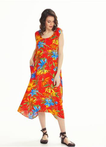 Floral Pattern Red Boat Neck Sleeveless Long Summer Dress