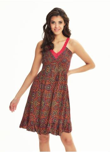 Retro Print Lace Straps Frill Hem Detail Wholesale Sundress