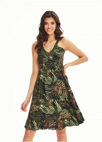 V Neckline Khaki Frill Hem Hippie Style Wholesale Sundress
