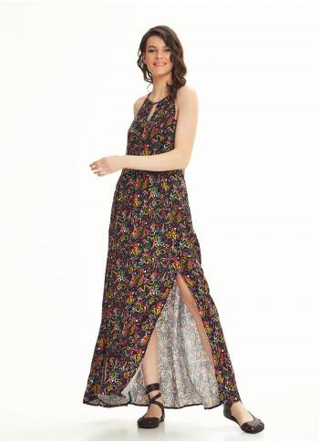 Ethnic Print Back Decollete Slit-Neck  Picasso Patten Dress