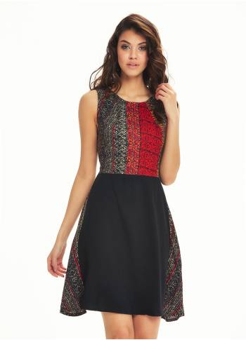 Color Block Gray Patch Dress