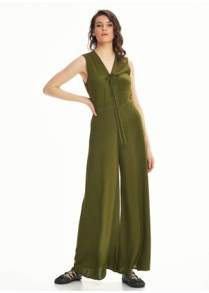 Wide Leg Khaki Jumpsuit