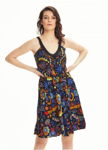 Black Floral V Neckline Frill Hem Hippie Style Wholesale Sundress