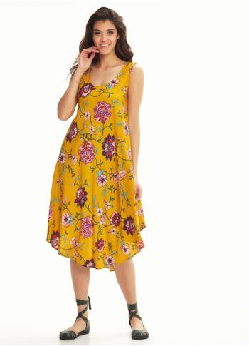 Scoop Neck Round Hem Sleeveless Mustard Flowering Dress