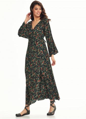 Bell Sleeve Wrap Green Clover Dress
