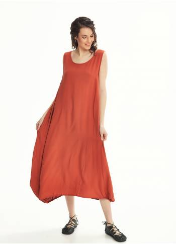 Scoop Neck Button Detail Pockets Loose Fit Boho Style Mustard Long Dress