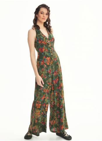 Wide Leg Stylish Hanging Green Jumpsuit