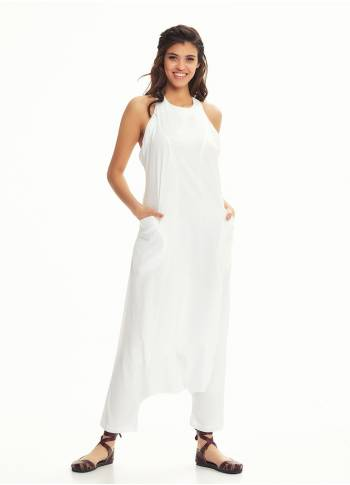 Halter Neck Zipper Back Closure Wholesale White Harem Jumpsuit