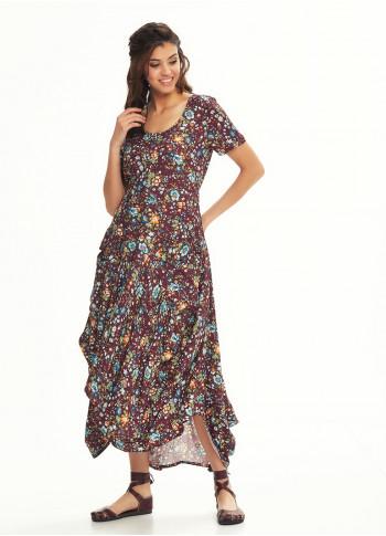 Amazon Print Asymetrical Hem Half Sleeve Turquoise Flowered Dress