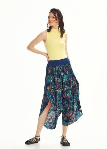 Blue Patterned Slit Flowy Women's Baggy Trousers