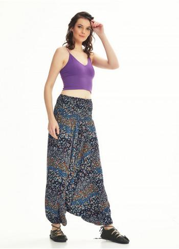 Black Print Shirred Elastic Waistband Harem Pants