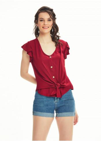 Tie Front Ruffle Sleeve Claret Red Top