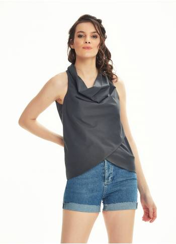 Bohemian Stylish Authentic Degaje Neck Gray Blouse