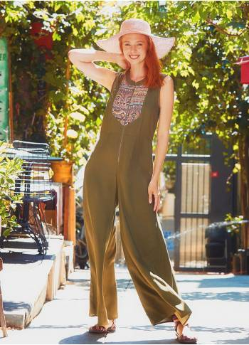 Abundant Leg Authentic Patterned Khaki Jumpsuit