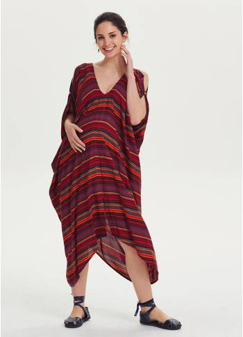 V Neck Asymmetrical Hem Hippie Style Wholesale Maternity Dress