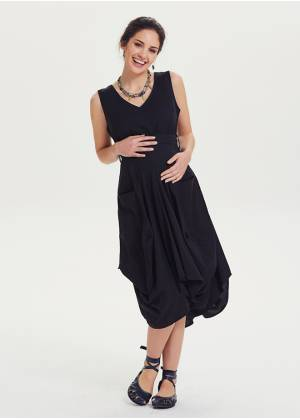 V Neck Oversized Pocket Detail Sleeveless Black Maternity Dress