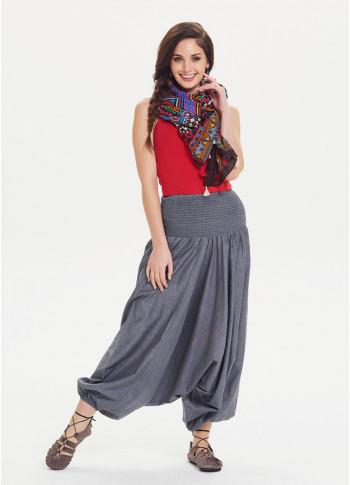 Shirred Waistband Elastic Hem Boho Chic Grey Harem Pants