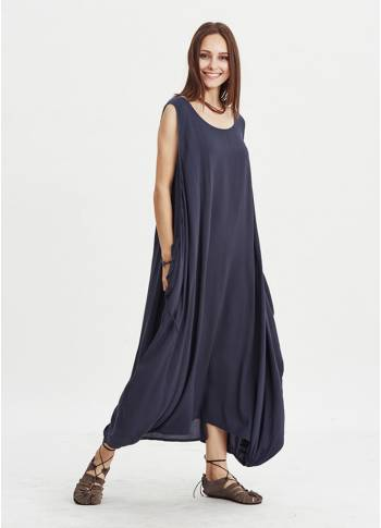 Coconut Buttoned Pockets Sleeveless Boho Style Loose Fit Dress