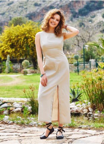 Slit Detailed Low Back Cream Dress