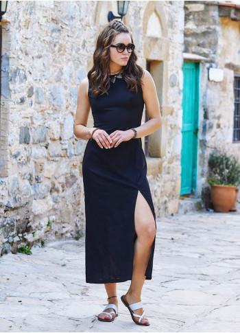 Slit Detailed Low Back Black Dress