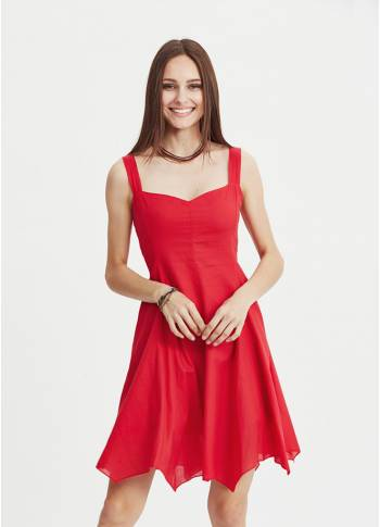 Red Sweetheart Neck Fit And Flare Day Dress
