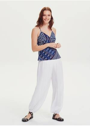 Elastic Waist Medium Rise White Harem Pants