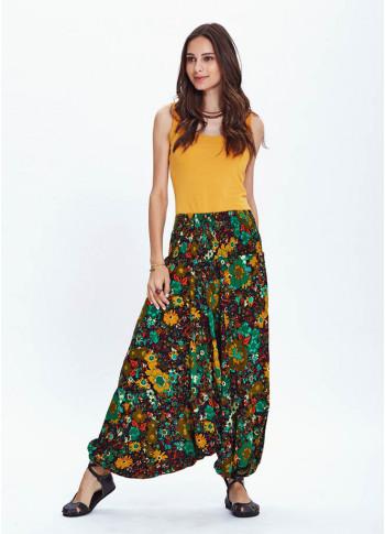 Shirred Waistband Elastic Hem Bohemian Flowy FloralHarem Pants
